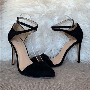 Zara Basic Suede Crisscrossed Ankle Strap Heels